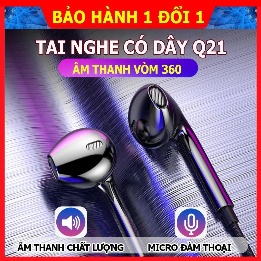 Tai nghe Q21, tai nghe nhét tai có dây lõi tứ, âm thanh nổi HiFi, sử dụng được với tất cả các dòng điện thoại