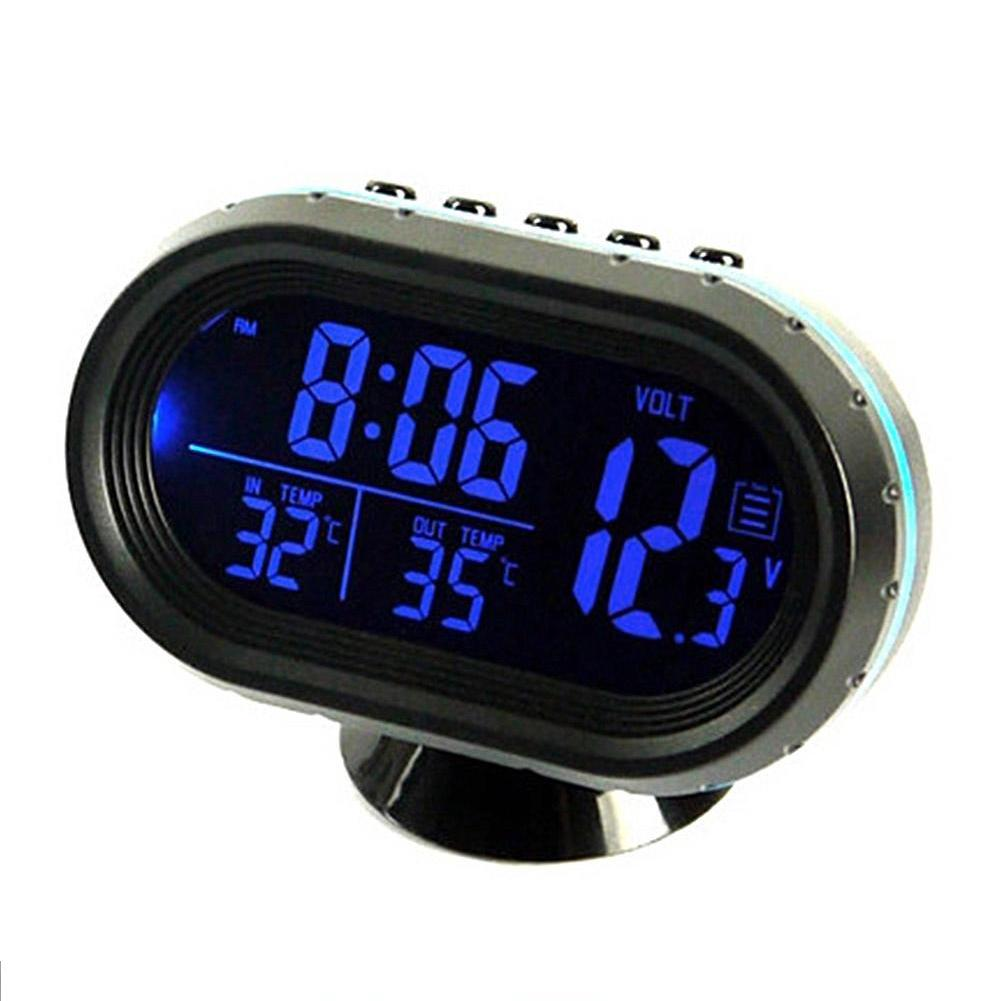 Car Interior A/C Vent Clip Digital Clock Thermometer Blue LED Back Light 3 In 1