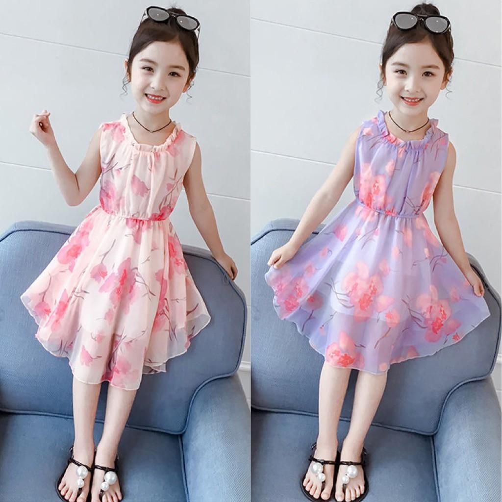 Mặc gì đẹp: Tung bay với Váy đầm xoè voan lụa hoa sát nách nhiều màu dành cho bé gái mặc hè (N00250)