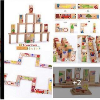 Combo 10 bộ domino gỗ cho bé_Siêu Rẻ