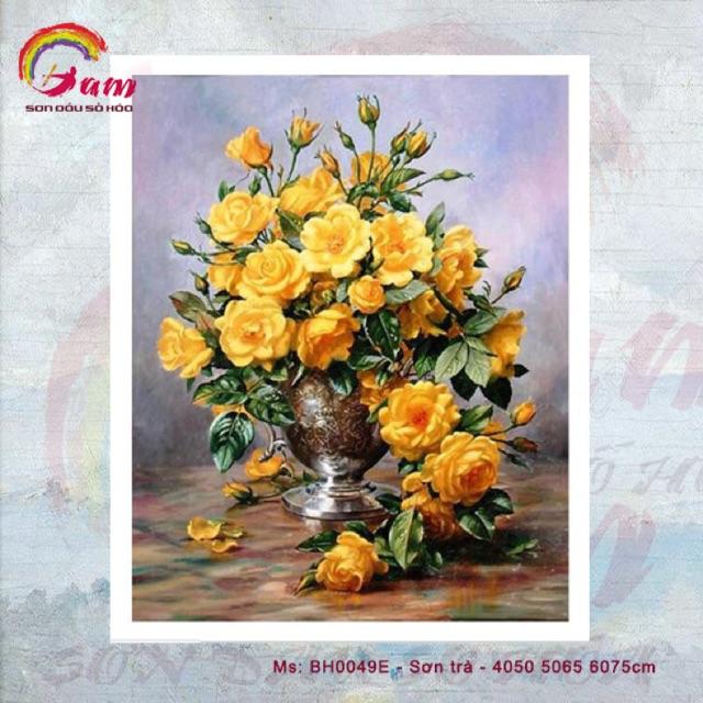 Tranh sơn dầu số hoá DIY tự vẽ - Mã BH0049E - Sơn trà vàng - 40x50cm