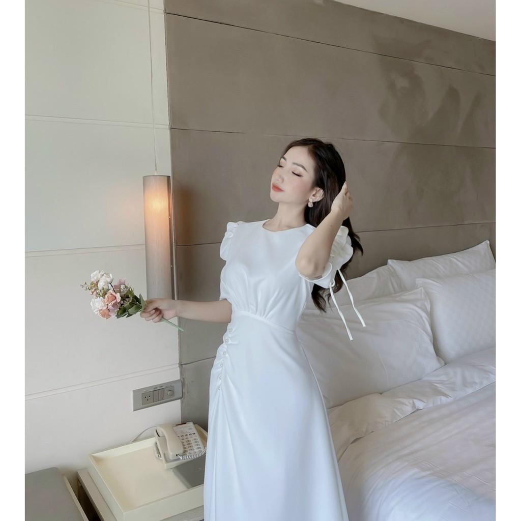 Mặc gì đẹp: Sang chảnh với Đầm Nữ Đẹp💖Đầm Dự Tiệc Thiết Kế Dáng Dài Rút Eo Đính Ngọc Đẹp Xuất Sắc LiMi M64