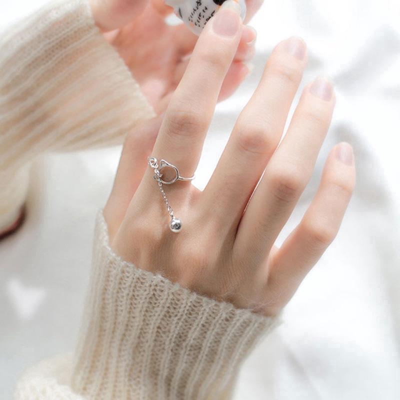 Nhẫn bạc hình mèo phối chuông thiết kế hở thời trang cho nữ