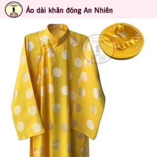 Áo dài khăn đóng nam vải gấm Thái Tuấn – màu vàng (Áo dài và khăn đóng)