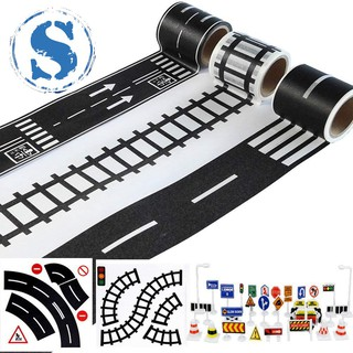 Play Road Tape for Toy Cars and Trains 3 Rolls 4.8cmx5m Straight Curve Track Traffic Signs