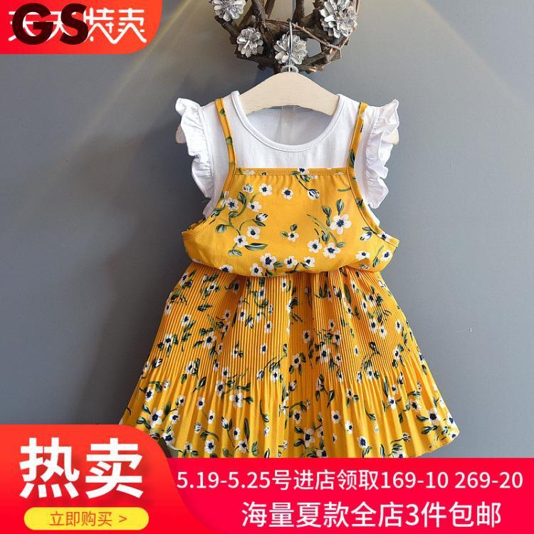 Summer dress new girls children's clothing fashion flying sh