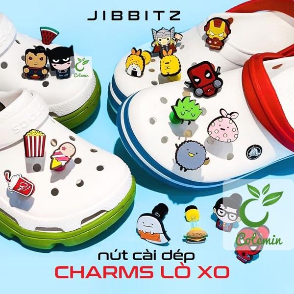 Nút cài dép Sticker Jibbitz Charm 3D LÒ XO cho sục bít đầu Crocs Duet Crocband Baya Bayaband
