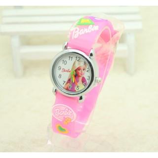 Đồng hồ cho bé gái hình búp bê Barbie dễ thương (hồng)