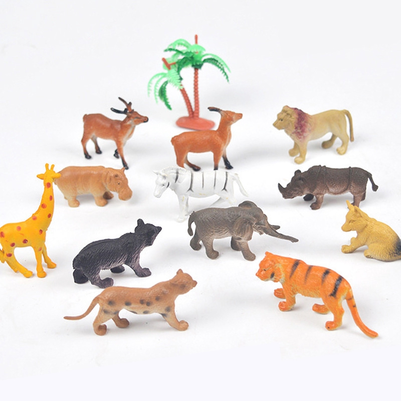 12pcs Mini Animals Model Figurine Kids Playset Toy Forest Animal World Set Gifts