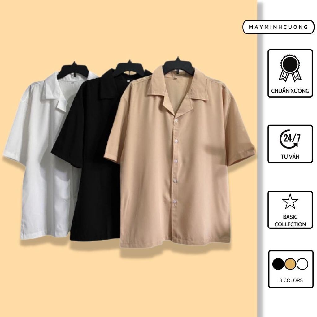 Áo sơ mi tay ngắn nam nữ form rộng, sơ mi cổ vest unisex Hàn Quốc, chất vải lụa dãn