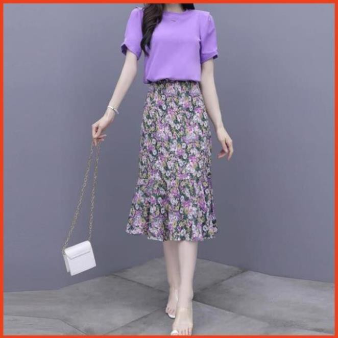 Chân Váy Dài Vintage Ulzzang Style Đuôi Cá, Váy Nữ Hoa Nhí Kết Hợp Áo Bất Chấp Mọi Kiểu Dáng