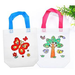 Túi tô màu kèm bút lông cho bé rèn thẩm mỹ hội họa và sử dụng túi xách vải thumbnail