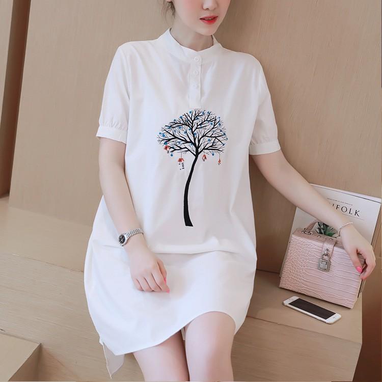 (hình thật) Váy đầm trắng phối họa tiết nổi bật thời trang Savvy