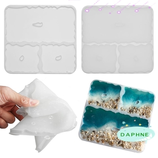 DAPHNE Handmade Irregular Wave Coaster Mold DIY Craft Silicone Resin Casting Molds Pendant Agate Desktop Decoration Cup Mad Clay Tool Jewelry Making Mould Epoxy