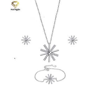 Combo dây chuyền lắc tay và khuyên tai bạc Ý 925 Huệ Ngân - Hậu duệ mặt trời PP1518-RYE140930-RYB140120