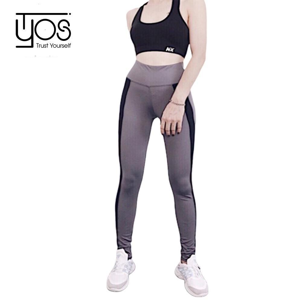 Bộ đồ tập thể thao Gym, Yoga, Aerobic cao cấp chất liệu thun 4 chiều co giãn màu xám phối đen logo NX