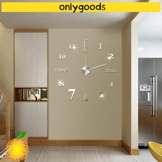 ONLY Decor Mirror surface Home|Watches Wall Clock Office 3D Living Room Fashion Modern Style Decoration bell Acrylic Sticker/Multicolor
