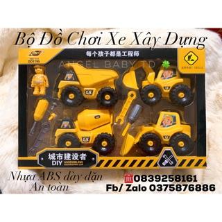 Bộ Đồ Chơi Xe Xây Dựng kèm dụng cụ mở lắp vít bánh xe ( đồ chơi trẻ em)
