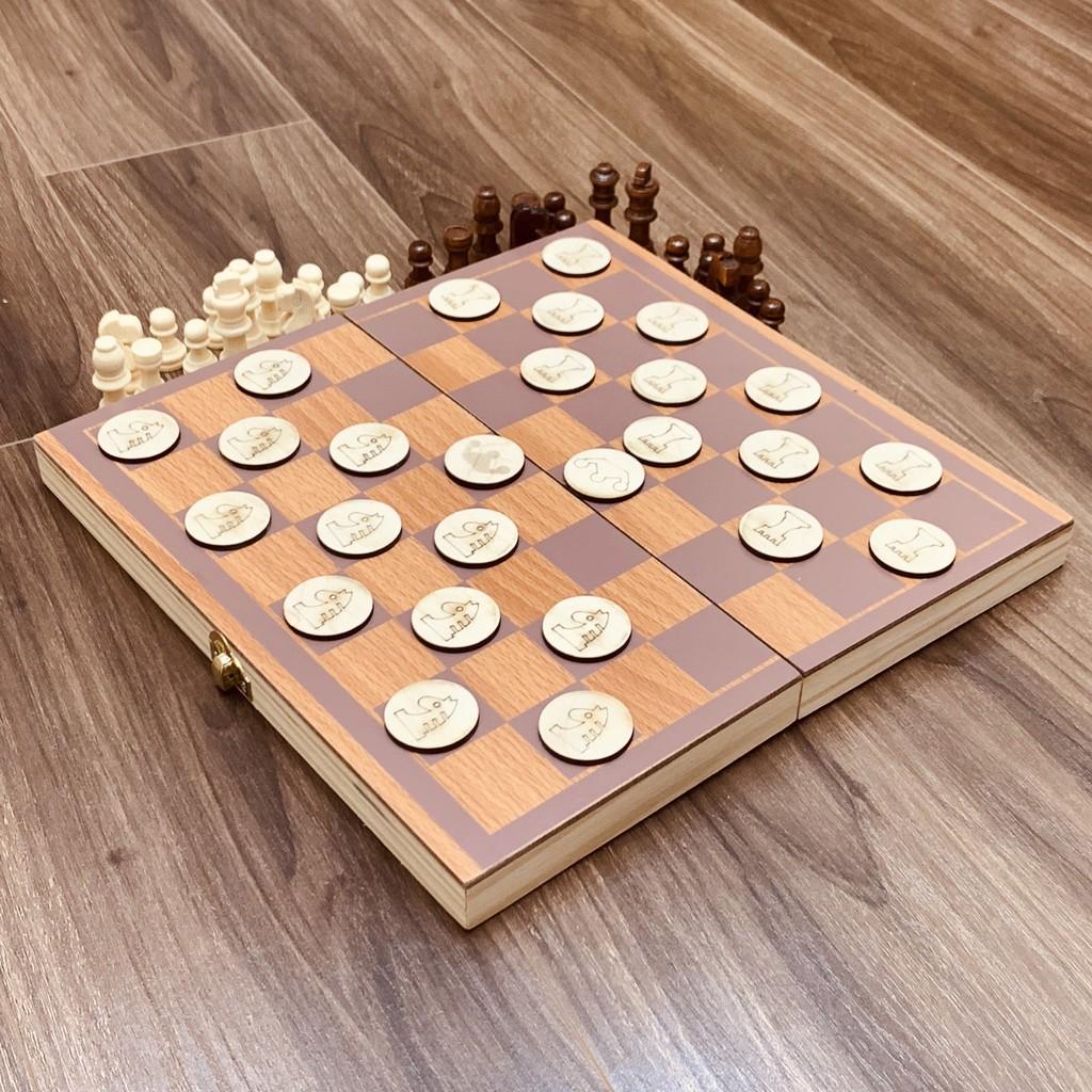 Đồ Chơi Gỗ Boardgame Cờ Vua Kết Hợp Cờ Đam Có Hộp Đựng Siêu Đẹp