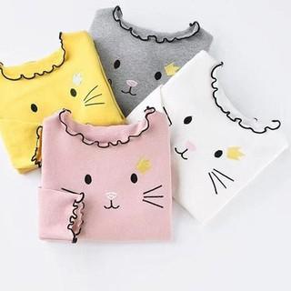 Áo Thun In Hình Mèo Kitty Xinh Xắn Cho Bé Gái