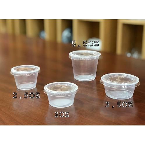 100 hộp,hủ đựng sốt, nước chấm, tương, gia vị, có nắp dùng 1 lần 60ml, 80ml, 105ml, 120ml, 165 ml