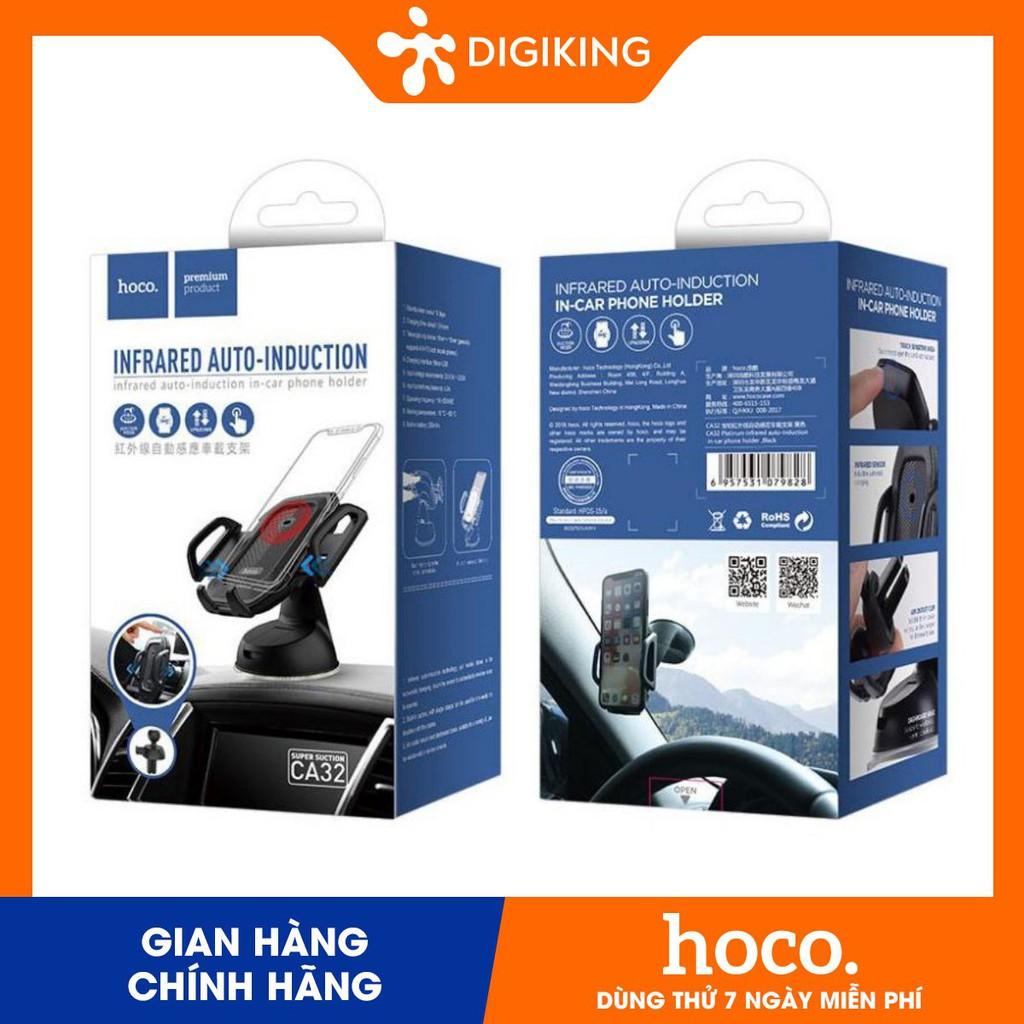 HOCO CA32 -Giá đỡ điện thoại trên xe hơi cảm ứng _Xanh dương / Đen