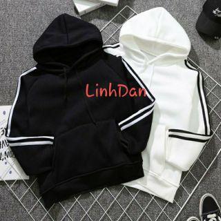 Áo khoác hoodie sọc tay dày dặn