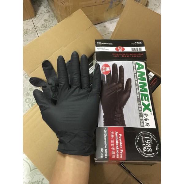 Găng Tay cao su y tế đen hộp 25 đôi) không hộp giấy