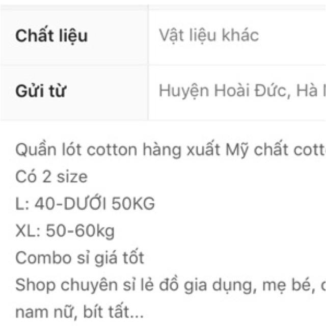 Quần lót coton combo 10 quần xuất mỹw