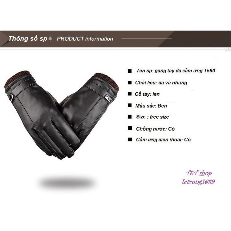 Găng tay da chống nước / cảm ứng / lót nỉ  T590