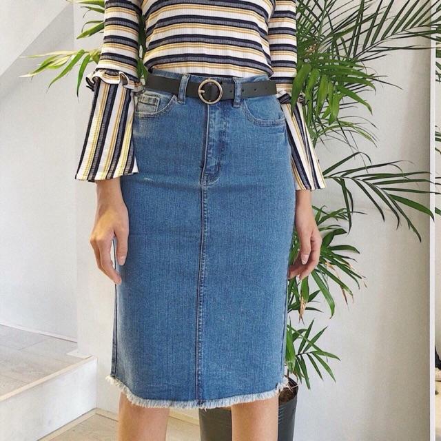Chân váy jean suông
