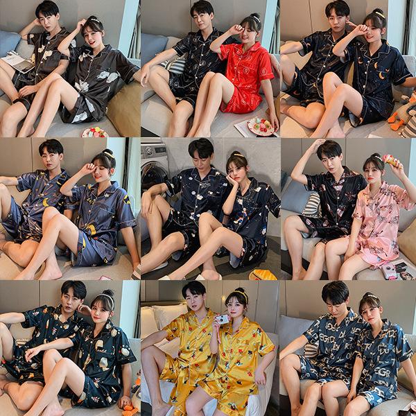 Mặc gì đẹp: Ngủ ngon với Bộ đồ ngủ pyjama vải lụa tay ngắn in họa tiết thời trang thu đông thoải mái cho nam và nữ đồ mặc nhà cao cấp