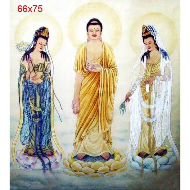 Tây Phương Tam Phật (Vải In Sẵn 100%)