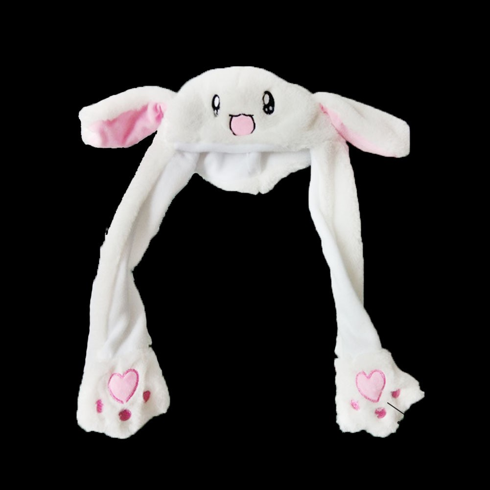 ❤S Wind Plush Moving Ear Rabbit Hat Funny Hand Pinching Airbag Magnet Ear To Mov