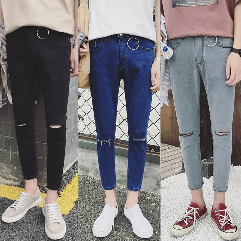 xu hướng 2017 hoang dã tự canh chín điểm jeans chân 9 điểm quần của nam giới đen