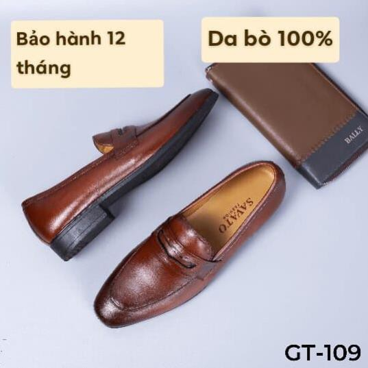 [ngiau]Giày lười nam màu nâu da bò cao cấp - Giày tây công sở tăng chiều cao 5cm - GT109[nk032]