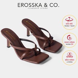Dép cao gót Erosska mũi vuông xỏ ngón phối dây cao 7cm màu nâu đậm_EM060