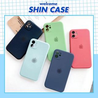 Ốp lưng iphone Logo táo lót nỉ 4 màu cạnh vuông 5 5s 6 6plus 6s 6splus 7 7plus 8 8plus x xr xs 11 12 pro max plus promax thumbnail