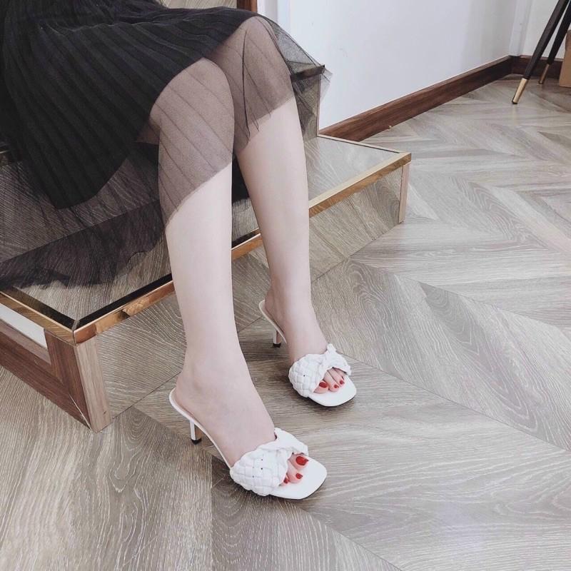 Guốc bản bính xoắn da mềm gót nhọn 6p ( hàng đẹp)