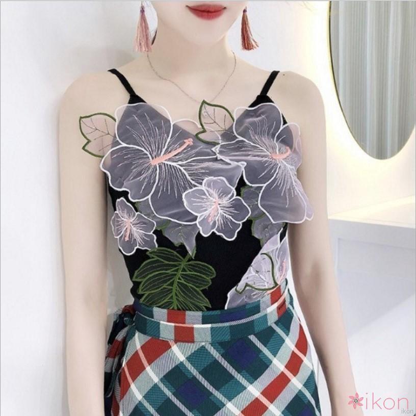 Verivery ✨💕  Korean Women Sleeveless Three-dimensional Embroidery Vest Tank top