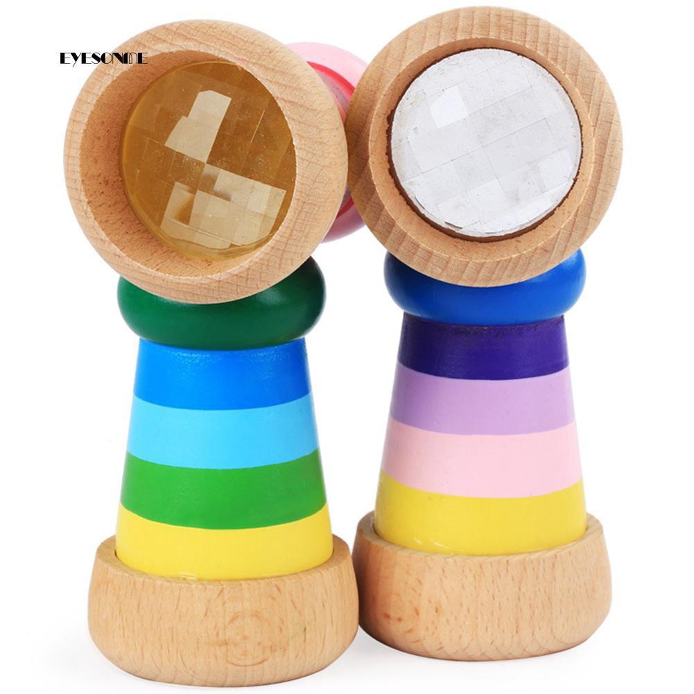 Kính vạn hoa mini bằng gỗ màu sắc cầu vồng cho bé NMS3460