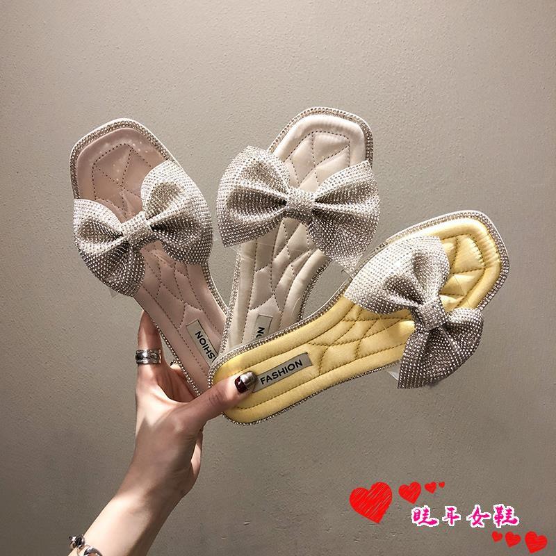 ☆spot stock ☆Rhinestone slippers female summer 2019 new wild