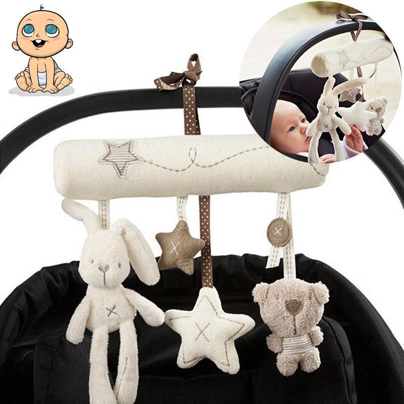Lovely Baby Pram Rattle Baby Musical Plush Crib Stroller Hanging Rabbit Toy