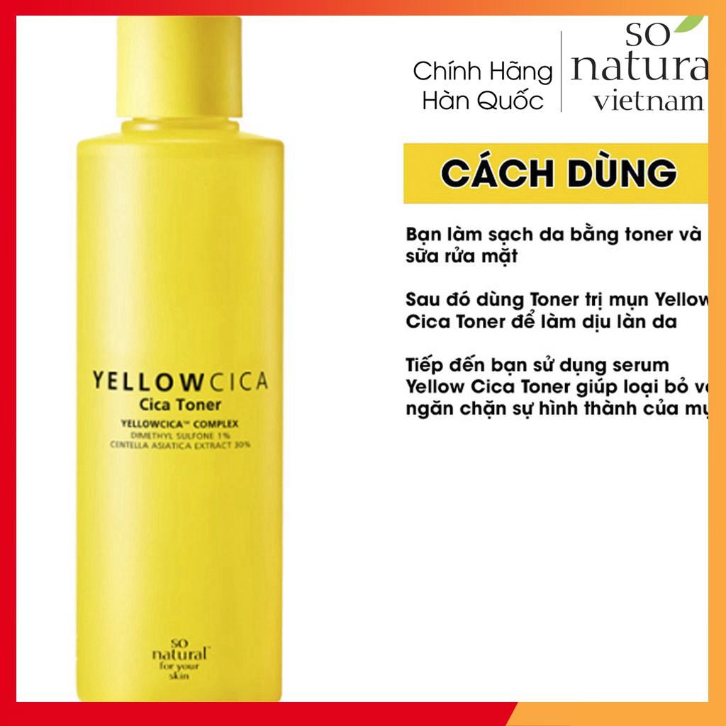 Yellow Cica Toner Trị Mụn Dành Cho Mọi Loại Da So Natural Hàn Quốc l Nhập Khẩu Chính Hãng Hàn Quốc