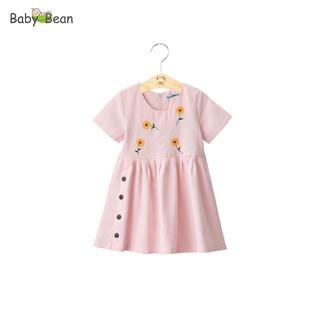 Đầm Linen Thêu Tay Đính Cúc bé gái BabyBean