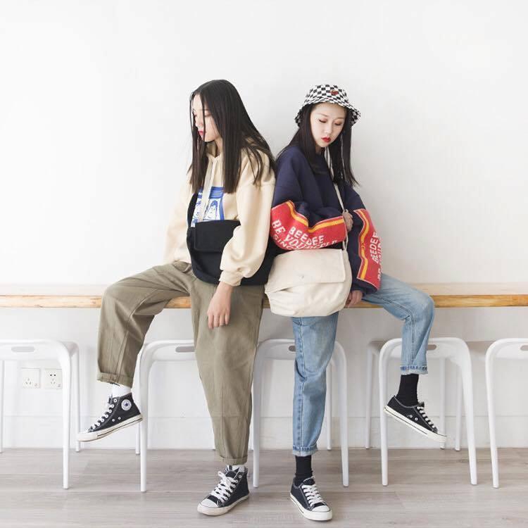 Túi tote đeo chéo unisex Hàn Quốc (kèm phụ kiện)