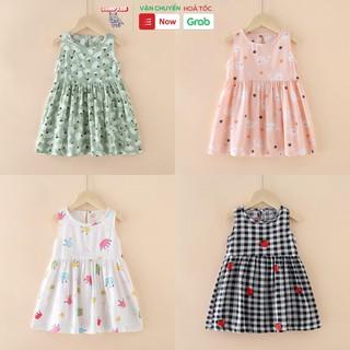 Váy đầm bé gái mùa hè chất liệu Kate in hình đáng yêu dễ thương phong cách Hàn Quốc