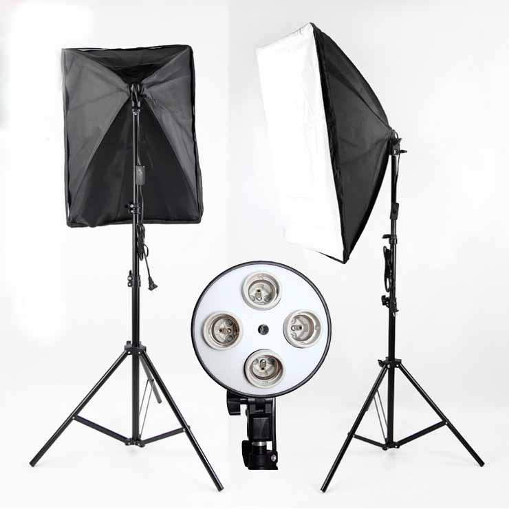 Bộ Đèn Studio Chụp Ảnh Sản Phẩm Chân Đèn 2m Kèm Softbox 50x70 Hỗ Trợ Sáng, Có Thể Mua Kèm Bóng 150W