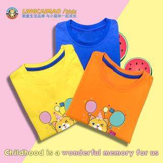 Spirit Cat Boys Short-Sleeved T-Shirt Summer New Baby Children Cotton Top Child Baby Cartoon Half Sleeve Clothes