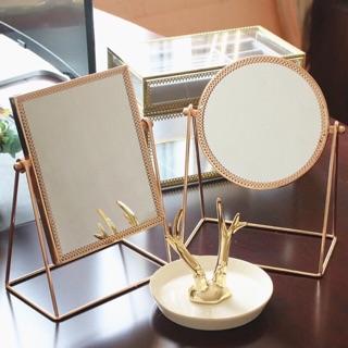 [Golden Queen] Gương trang điểm để bàn mạ kim loại